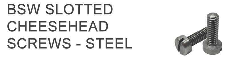 BSW Cheesehead Slotted Screws - Steel