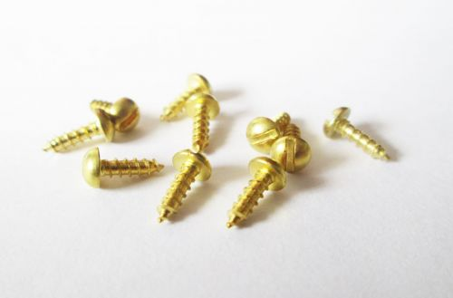 "No.2 x 3/8"" Brass Roundhead Wood Screws Qty 10"